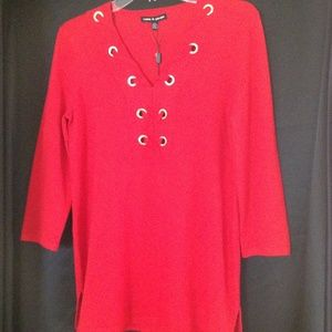 NWT Cable&Gauge Red Blouse Cross Tie Detail Sz S